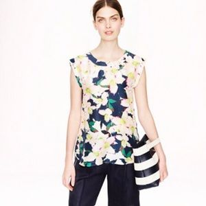 J Crew 4 Sleeveless Drapey Top Cove Floral, Tank